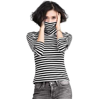 DOLEFY やわらか コットン 快適 長袖 Tシャツ 綿 フライス タートルネック シンプル ストレッチ カットソー インナ ホワイト XL