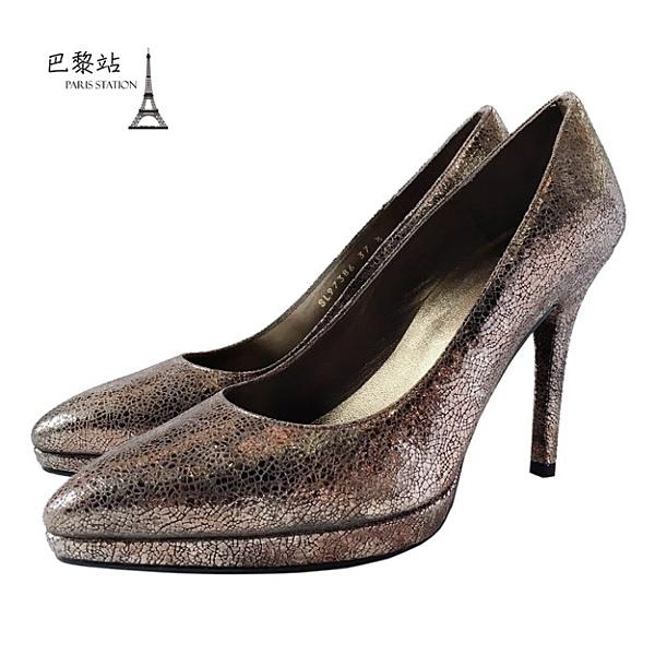 【巴黎站二手名牌專賣店】*全新現貨*Stuart Weitzman 真品*金屬色澤高跟鞋(37.5號)