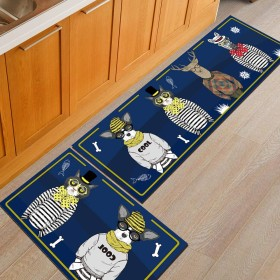 ポリエステル繊維で作られたキッチン滑り止めカーペットは洗えます、青いバスルームの吸収パッドは耐摩耗性と耐汚れ性のあるPVC滑り止めの底、キッチンのバスルームのリビングルームのベッドルーム、トレンドの動物柄,50x80CM