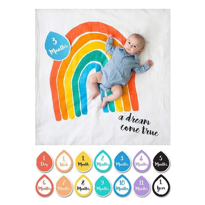 寶寶成長包巾卡片組 - 彩虹 彩虹