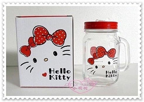 ♥小花花日本精品♥ Hello Kitty 玻璃水杯 梅森杯 玻璃瓶 聖誕節禮物 大臉 蝴蝶結500ML11281207