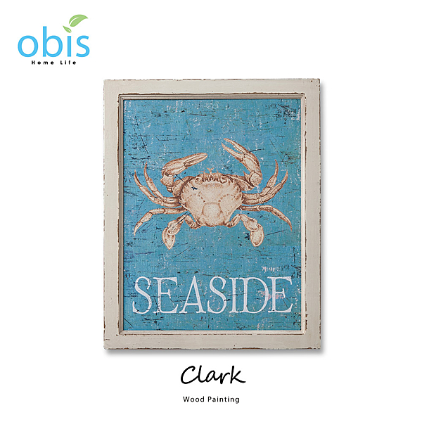 AA012-Clark戲水螃蟹地中海風木板畫/預購(OBS/14QH491A1Z2木版畫)【DD House】