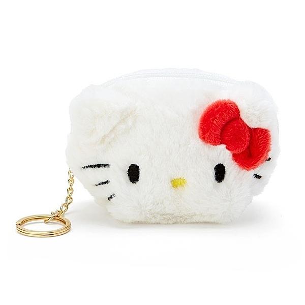 〔小禮堂〕Hello Kitty 大臉造型半圓絨毛吊飾零錢包《紅白》掛飾收納包.鑰匙圈 4901610-04910