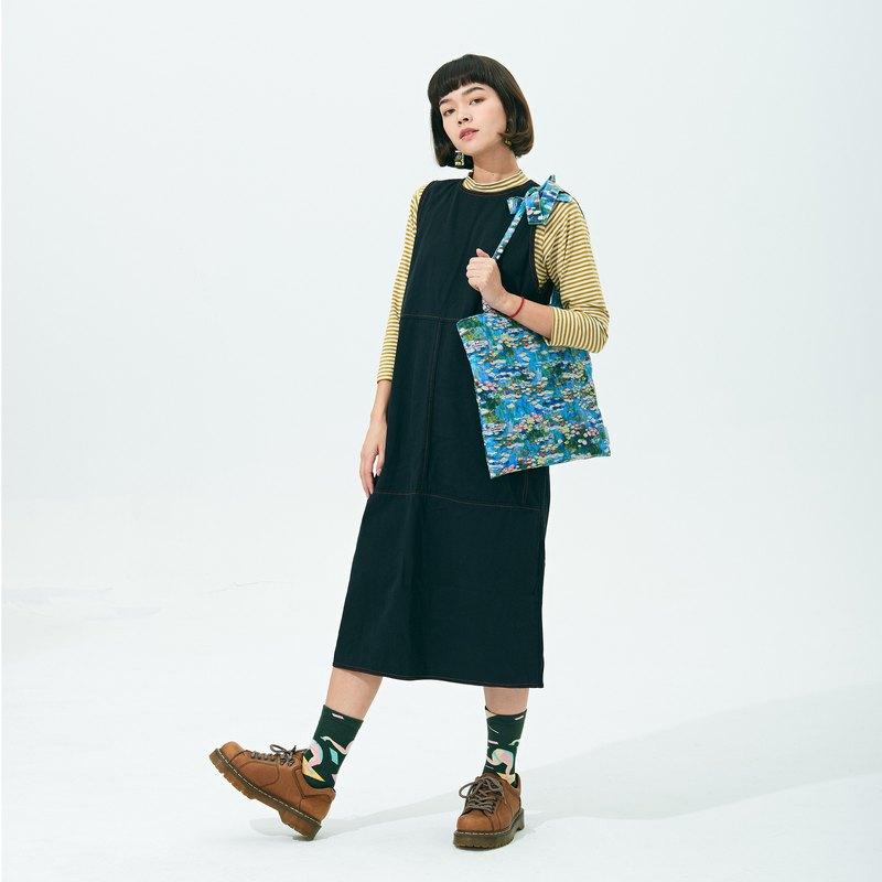 百搭經典舒適寬鬆自然日系條紋長袖長裙U型百搭洋裝背心連衣裙