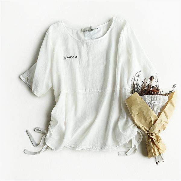 [超豐國際] W   字母刺繡點綴 系帶 純色 苧麻 T恤