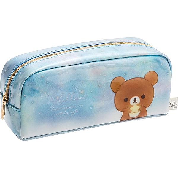 San-X  亮面防水筆袋 收納包 化妝包  RILAKKUMA拉拉熊 茶小熊 流星