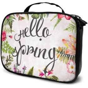 Jingoo こんにちは春ビンテージフラワーデザイン 化粧ポーチ メイクバッグ バニティケース 小物入れ 旅行 折り畳み 大容量