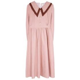 レディース秋のレトロキキョウドレスロングドレスラペルドレスColorblockロングスリーブドレス VFPOPOc (Color : Pink, Size : L)