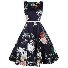Simple and generous レディースデイリーAラインドレス-フローラルフリルサマーコットンブルー (Color : Black, Size : M)