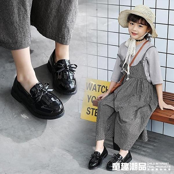 女童小皮鞋秋季2020新款春季軟底兒童鞋豆豆公主鞋英倫風黑色單鞋 童趣潮品