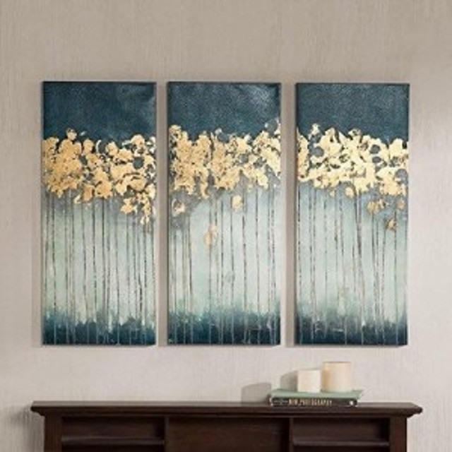 Madison Park Abstract Hand Embellished Teal Canvas Wall Art マディソンパーク キャンパス画 絵 アート