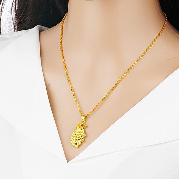 新款鍍金孔雀項鍊女款越南沙金時尚項墜仿真黃金吊墜久不褪色飾品