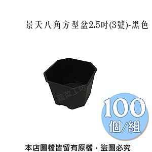 景天八角方型盆2.5吋(3號)-黑色   100個/組