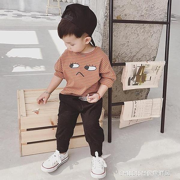 長袖上衣 男寶寶長袖t恤嬰兒新款兒童韓版條紋打底衫小孩休閒上衣 童趣潮品