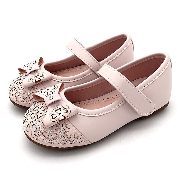 《7+1童鞋》CONNIFE 專櫃款  縷空點鑽四葉草 休閒鞋 娃娃鞋 公主鞋 D655 粉色