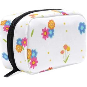 JunStyle デジタル花柄 女性の化粧ポーチ コスメケース 旅行 化粧品 収納 雑貨 小物入れ 出張用バック 超軽量 機能的 大容量