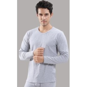 誤った意味の男性の秋のズボンの秋衣のスーツの丸首の弾力性の綿の薄い金の純色の基礎は底の男性の保温する下着を打ちます