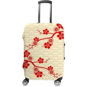 スーツケースカバー トラベルケース 荷物カバー 弾性素材 傷を防ぐ ほこりや汚れを防ぐ 個性 出張 男性と女性 梅の花