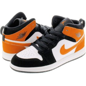 [ナイキ] AIR JORDAN 1 MID PS BLACK/STARFISH/STARFISH/WHITE 【SHATTERED BACKBOARD】 17.0cm [並行輸入品]