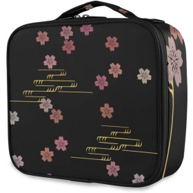 Kaaridream メイクボックス プロ用 便携式 大容量 機能的 化粧ポーチ桜 桜柄 黒 ブラック 和風 和柄 コスメ収納ボックス 仕切り 化粧 メイクケース 出張 海外旅行 携帯用 化粧品収納