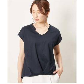 OFUON 【洗濯機で洗える】ストライプデザインカットソー Tシャツ・カットソー,ネイビー