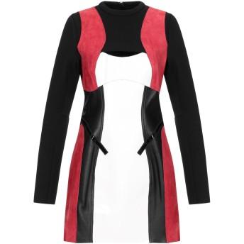 《セール開催中》DSQUARED2 レディース ミニワンピース&ドレス ブラック 38 革 100% / レーヨン / ナイロン / ポリウレタン