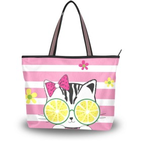 MASAI トートバッグ 大容量 レディース 猫柄 レモン ストライプ 軽量おしゃれa4肩掛け 2way ファスナー付