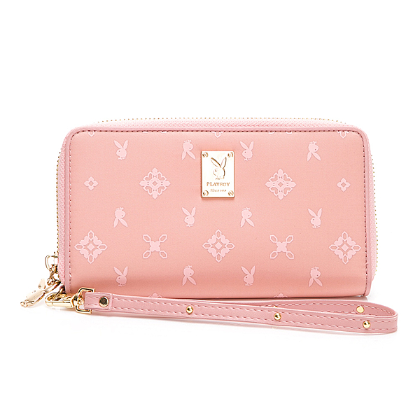 PLAYBOY-  ㄇ形拉鍊長夾附手挽帶 Floral花漾系列 -粉膚色