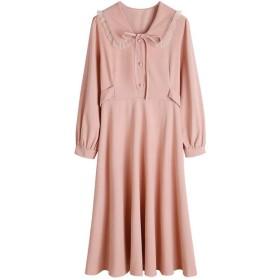レディース秋甘いドレス文学ドレス長袖ベースドレススリムラペルドレスファッションヴィンテージドレス VFPOPOc (Color : Pink, Size : M)