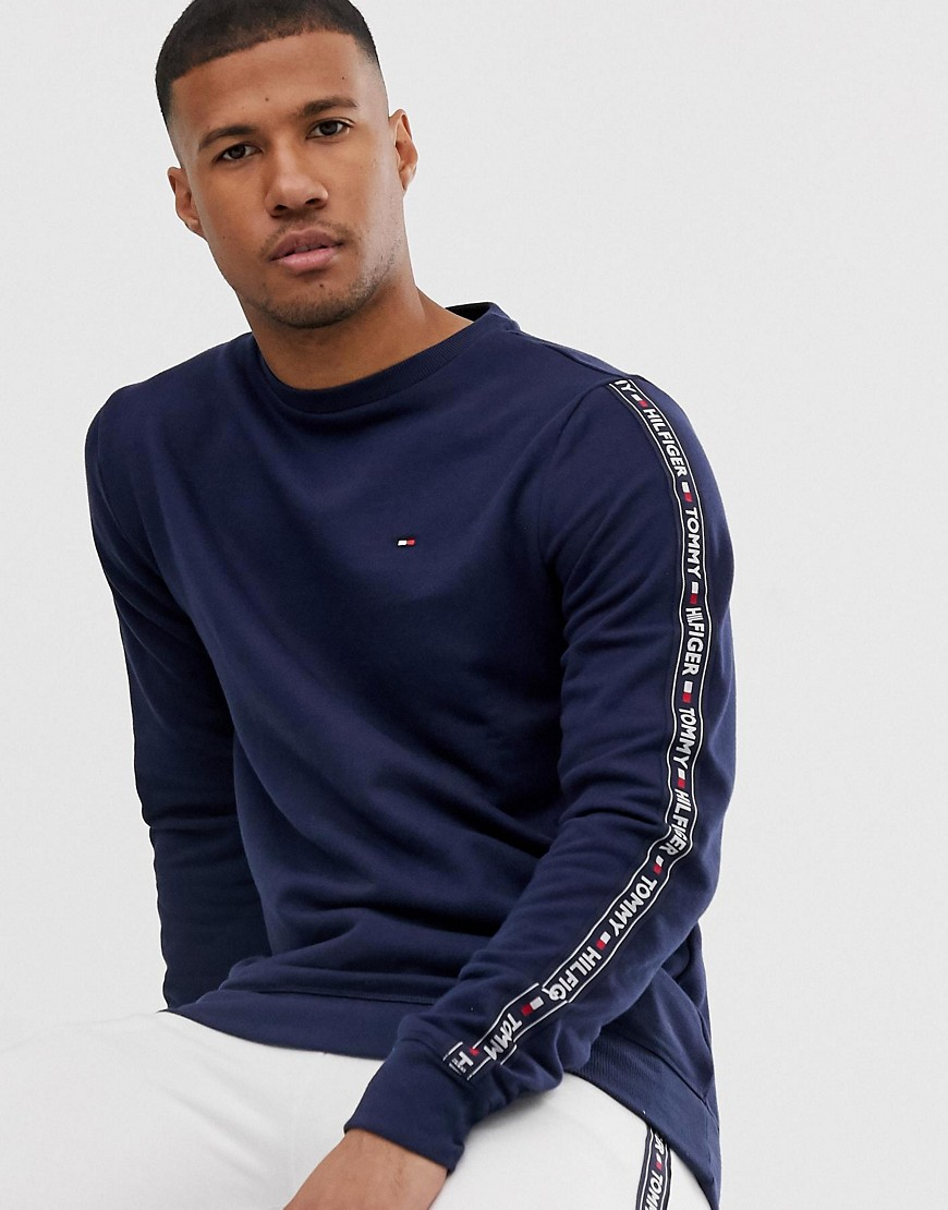 Tommy Hilfiger authentic lounge sweatshirt with side logo taping in navy marl-Grey