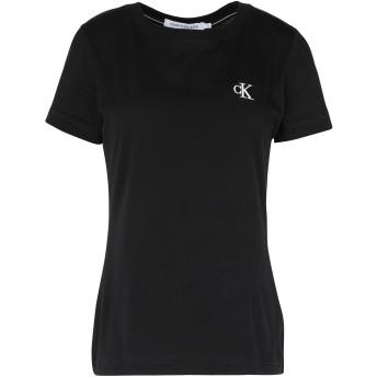 《セール開催中》CALVIN KLEIN JEANS レディース T シャツ ブラック XS コットン 100% CK EMBROIDERY SLIM
