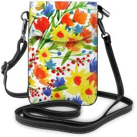 花柄 携帯バッグ 携帯ケース フォン保護 携帯収納バッグ ボディ掛け財布 スマホバッグ ショルダーバッグ 斜め掛けバッグ 小物入れ カード入れバッグ 多機能 多用途