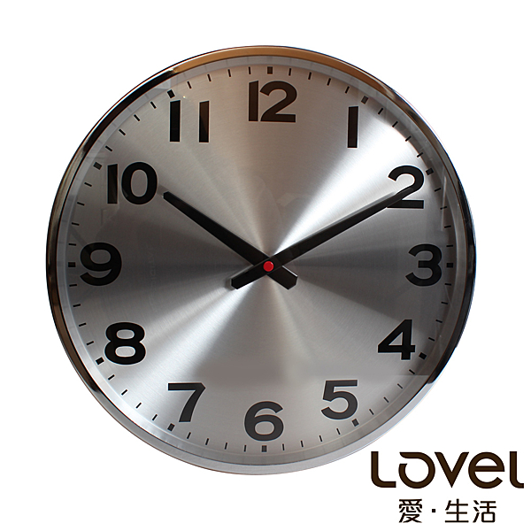 Lovel 38cm工業風鋁框靜音時鐘 - 共2款