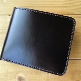 黒コードバン×ルガトショルダーイエローの二つ折り財布、小銭入れあり