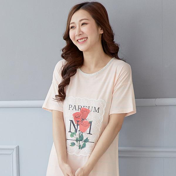 溫馨玫瑰花居家睡衣洋裝(粉橘)