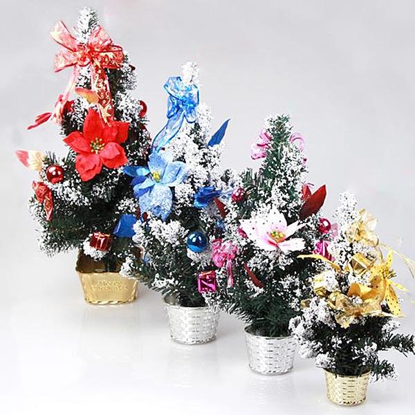 聖誕節 聖誕樹 耶誕樹 迷你聖誕樹(40cm) 雪花樹 聖誕樹盆 交換禮物 辦公室專屬 配件齊全【塔克】