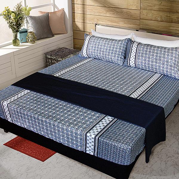 【FITNESS】精梳純棉雙人床包+枕套三件組- 艾斯琴曲(藍)