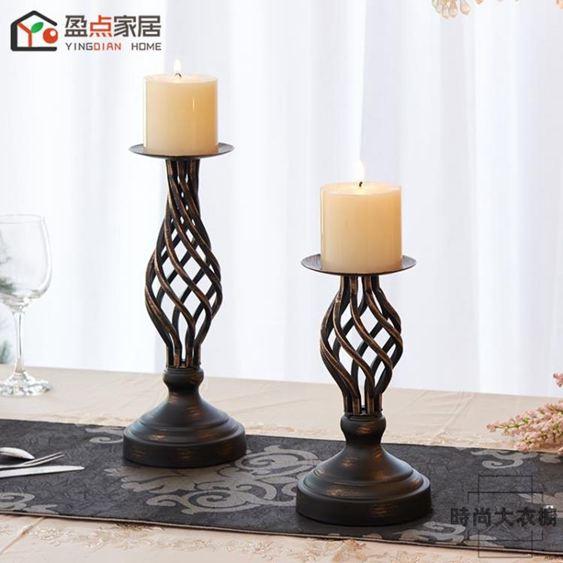 復古燭臺擺件歐式美式鄉村鏤空蠟燭臺婚慶燭光晚餐道具餐桌裝飾