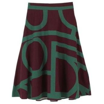 ティティベイト titivate デザインパターンミドル丈スカート (ワイン)