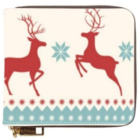 ショートウォレット 財布 短財布 ミニウォレット クリスマス アンテロープ ウサギ 二つ折り財布 カードパッケージ コインケース 小銭入れ L字ショートウォレット カード収納 ミニ財布