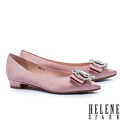 低跟鞋 HELENE SPARK 華麗高雅造型鑽釦緞布尖頭低跟鞋-粉