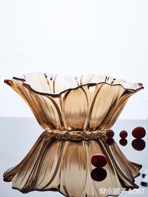 11.11超值折扣 花瓣歐式水晶果盤 創意時尚個性現代簡約客廳家用大號玻璃水果籃ATF