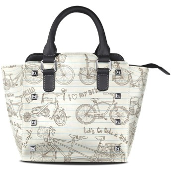 自転車アート絵画クロスボディバッグレザーハンドバッグサッチェル財布メイクアップトートバッグ女性用女の子