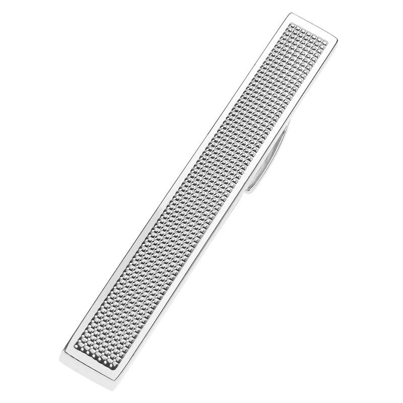 57mm 銀色格子領帶夾