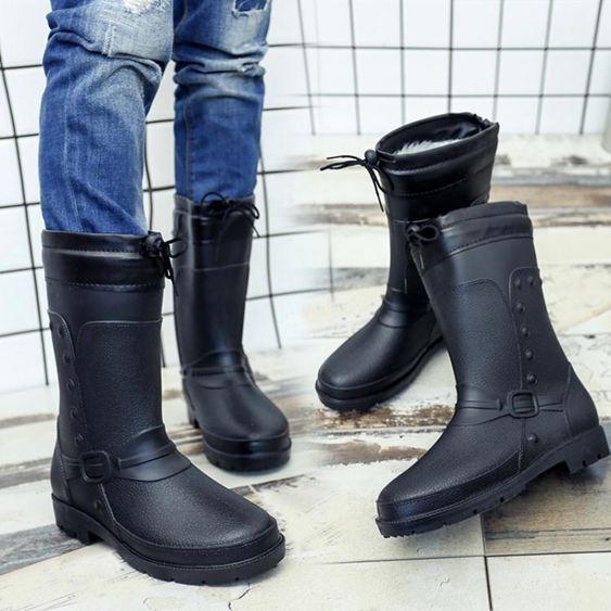 防水雨鞋 棉水鞋雨鞋水靴雨靴中筒男士膠鞋時尚成人套鞋防水鞋韓版