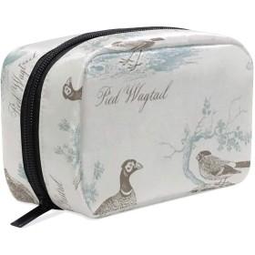 JunStyle ベウィック鳥 化粧ポーチ メイクポーチ ミニ 財布 機能的 大容量 化粧品収納 小物入れ 普段使い 出張 旅行 メイク ブラシ バッグ 化粧バッグ