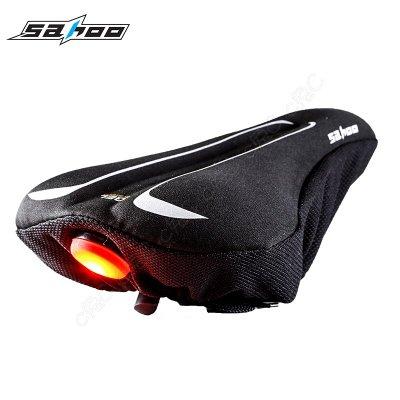 SAHOO-全新自行車Gel減震舒適坐墊套 【帶尾燈】3D防滑座墊套 腳踏車椅墊套 單車鞍座套 彈力矽膠吸震椅套