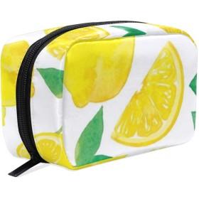 JunStyle レモン コスメ 化粧 ポーチ レディース 大容量 コンパクト 中身が見やすい シンプル 小物入れ 旅行 普段使い こぼれない ジッパー ポケット 整理