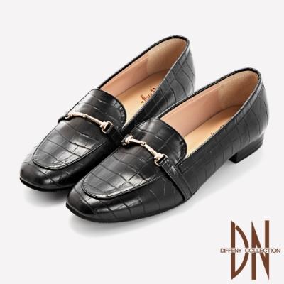 DN跟鞋_舒適滿分鱷魚紋方頭樂福跟鞋-黑