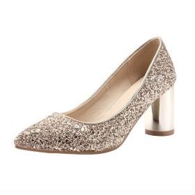 [BiaoYiTen] ポインテッド パンプス ウェディングシューズ 7cm ハイヒール レディース ハイヒール レディース 歩きやすい 22センチ 太ヒールパンプス キラキラ スパンコール 結婚式 大きいサイズ 靴 パーティー (24, ゴールド)